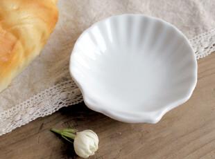 zakka 白色陶瓷 贝壳调味碟 小小果酱盘子 酱醋碟 小皂碟 寿司碟,盘碟,