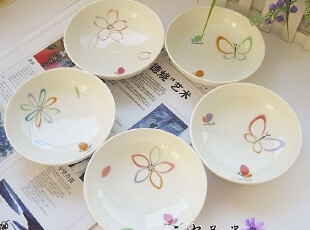 出口品  HANAE MORI系列 细纹浅口碗 菜盘子 碟子  单价,盘碟,