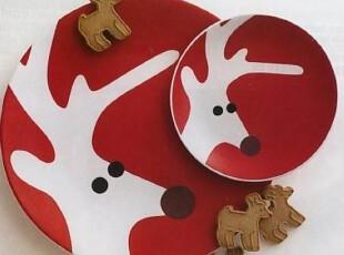 日单原版麋鹿超大碟 盘子 水果盘 派对用品 圣诞节装饰 大号,盘碟,