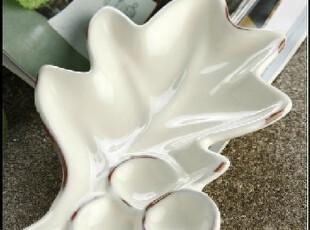 外贸陶瓷 home田园风 仿旧 树叶 调料蘸料碟 异形盘创意组合碟,盘碟,