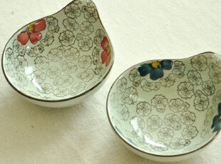 禅瓷西.日式手绘小和风系列.水滴造型大号蘸酱碟/调味碟/料理碟,盘碟,