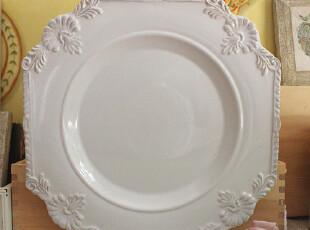 珍藏款 香榭丽舍 法式优雅 洛可可浮雕 珍珠白 牛排盘 外贸陶瓷,盘碟,