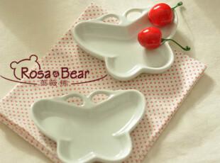 可爱小蝴蝶酱料碟 寿司碟 陶瓷 宜家风 出口 西餐餐具,盘碟,