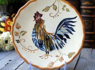 美国订单 手绘浮雕陶瓷 落英公鸡 餐盘 装饰盘 美式饰品,盘碟,
