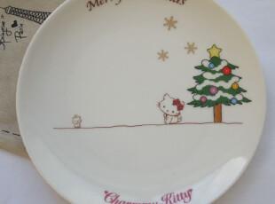 圣诞款Hello kitty 外贸陶瓷餐具日式骨瓷圆形盘子卡通可爱点心碟,盘碟,
