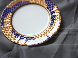 日本制   《知理园》 龙鳞云海纹花口平盘(19厘米款),盘碟,