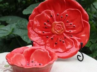 【A grass】外贸手绘陶瓷立体浮雕火红花朵碗、盘2件套!,盘碟,