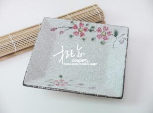 促 岸本烧日式餐具 手绘樱花陶瓷正方盘 盘子 水果盘 菜盘 大号,盘碟,