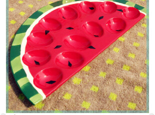 外贸手绘红色绿色西瓜水果陶瓷创意卡通鸡蛋盘 零食盘 点心盘,盘碟,