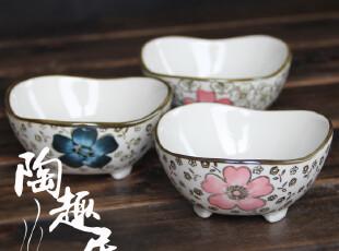 【微瑕特价】韩式陶瓷三脚调味碟/小菜碟 三款 出口尾货,盘碟,