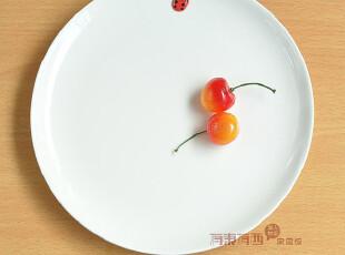 下午茶 蛋糕盘 小瓢虫陶瓷盘 早餐盘子 点心盘 菜盘 经典纯色白色,盘碟,
