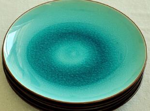 禅瓷西.跃然瓷间的薄冰--冰裂釉.纯色陶瓷纯平西餐盘.菜盘.盘子,盘碟,