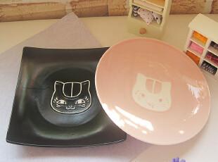 外贸陶瓷餐具夏目友人账蚀刻画猫咪先生日式粉色创意深菜盘子特价,盘碟,