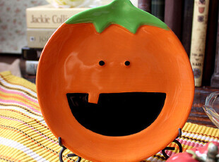 【A grass】外贸陶瓷出口餐具手绘酸甜橙子造型餐盘\零食盘!,盘碟,
