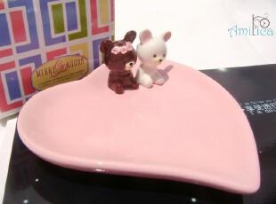 ◎情侣可爱熊粉色心形小碟|骨餐碟|酱菜碟|装饰碟◎,盘碟,
