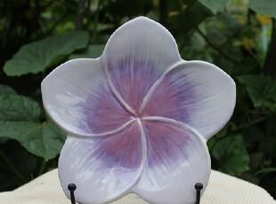 【A grass】外贸陶瓷手绘浮雕浅紫五瓣花餐盘、零食盘、点心盘,盘碟,