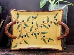 【特价】外贸手绘陶瓷立体浮雕橄榄双耳盘\果盘!,盘碟,