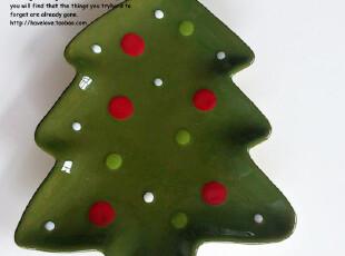【有爱小铺】 zakka杂货 家居 圣诞树陶瓷平盘 餐盘,盘碟,