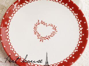 出口欧美星巴克风浮雕红心陶瓷盘 牛排盘果盘 盘子 手绘外贸陶瓷,盘碟,