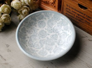 外贸日单陶瓷 ZAKKA 清雅低调 浮雕玫瑰 小号深盘/饭盘,盘碟,