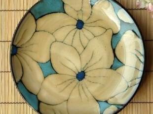 高档酒店家用餐具/日式窑变复古蓝平盘/装饰盘/果盘/西餐盘,盘碟,