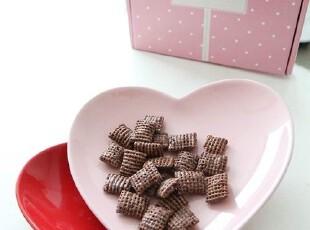 『韩国进口家居』A694 可爱心型零食碟 点心碟 红粉两只装,盘碟,