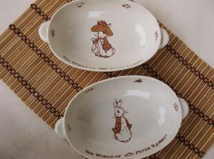 外贸骨瓷 PETER RABBIT彼得兔 双耳芝麻釉汤盆 菜盘子 (五款图案),盘碟,