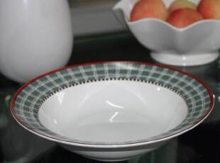 外贸陶瓷餐具 出口瓷器sakura花格汤盘 新骨瓷汤盆 沙拉盘 水果盘,盘碟,