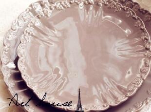 出口欧美星巴克风浮雕复古陶瓷盘 牛排盘果盘 盘子 手绘陶瓷小号,盘碟,