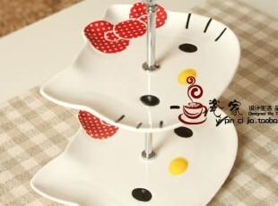 hello kitty 陶瓷双层水果盘.坚果盘。超级可爱带礼盒Y058,盘碟,