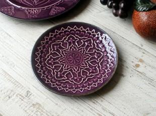 外贸出口美国 手绘陶瓷 美式浮雕复古花纹 魅惑紫色 餐盘/装饰盘,盘碟,