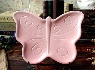 【A Ggrass】外贸陶瓷简约蝴蝶造型餐盘\点心盘 粉红!,盘碟,