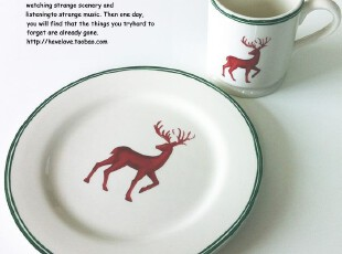 【有爱小铺】 zakka杂货 家居 北欧风格驯鹿陶瓷平盘 餐盘,盘碟,