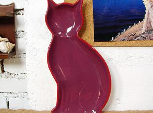 【A grass】外贸陶瓷 安哥拉猫--紫 零食盘\个性盘!,盘碟,