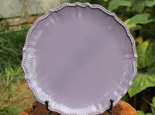【A grass】外贸陶瓷立体浮雕巴洛克紫色圆盘 餐盘--大小2款可选,盘碟,