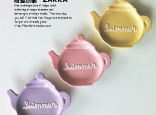 【有爱小铺】 杂货 zakka 家居 哑光英文茶壶造型小盘子 有瑕疵,盘碟,