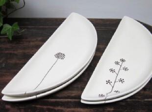 陶瓷 半圆 手绘 盘子  点心盘  ZAKA 杂货,盘碟,