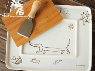箸休我小鳥Kirumeruru套装陶瓷盘 三件套 日单陶瓷30084,盘碟,