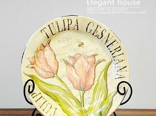 餐盘  仿旧乡村风格 欧式陶瓷 装饰盘 花鸟盘(不含架),盘碟,