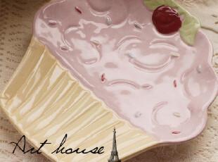 出口欧洲pin**嫩蛋糕陶瓷盘 西餐盘 牛排盘 果盘 陶瓷盘子 手绘,盘碟,