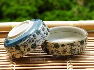 Kingda:出口日本 和风陶瓷餐具  青色梅花直身味碟,盘碟,