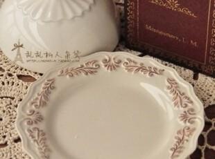 zakka杂货 复古宫廷浮雕陶瓷盘子 碟子 拍摄拍照背景道具,盘碟,
