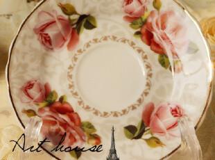 出口欧美玫瑰花陶瓷碟 蛋糕碟 小吃碟 碟子 醋碟 外贸出口陶瓷,盘碟,