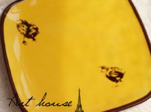 出口欧美简约陶瓷盘子 西餐盘 牛排盘 外贸手绘陶瓷盘 菜盘 平盘,盘碟,