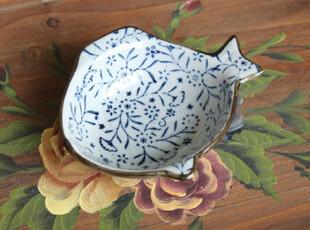 千度悠品 日式 和风 青花 红花 小鱼碟 调味碟 酱油碟 蘸料碟,盘碟,