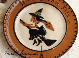 出口欧美 手绘浮雕陶瓷牛排盘 西餐盘 菜盘 盘子 外贸出口余单,盘碟,