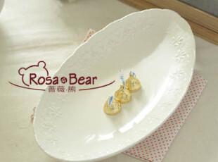 椭圆形浮雕花边餐盘 沙拉盘 家居陶瓷 外贸尾单,盘碟,