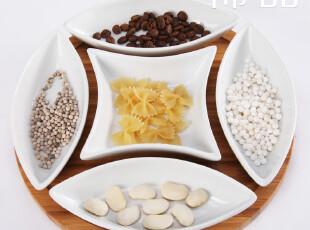 稀品独家 西式木制托盘陶瓷五格瓷盘 不规则摆件干果盘西餐盘,盘碟,