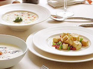 Luzerne卢泽恩 同心圆条纹 陶瓷餐盘 西餐牛排盘子 菜盘 大平盘,盘碟,