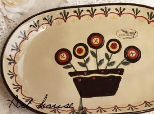 出口欧美田园风陶瓷浮雕盘子 牛排盘 西餐盘 菜盘 外贸出口余单,盘碟,